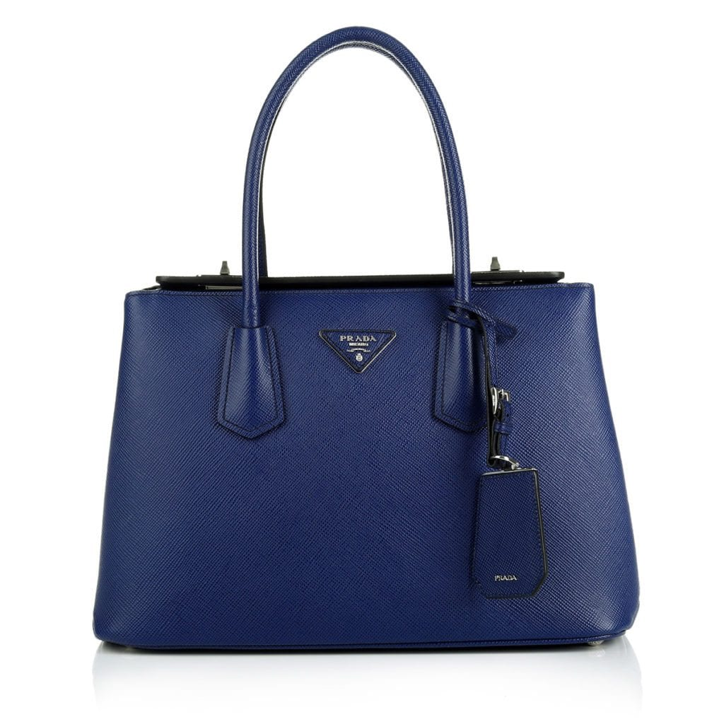 Prada Twin Saffiano Cuir Shopping Bag Inchiostro