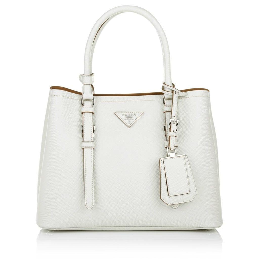 Prada Twin Saffiano Cuir Shopping Bag Talco Brown