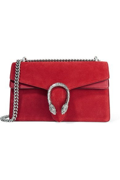 Gucci Dionysus Veloursleder mit Lederbesatz rot