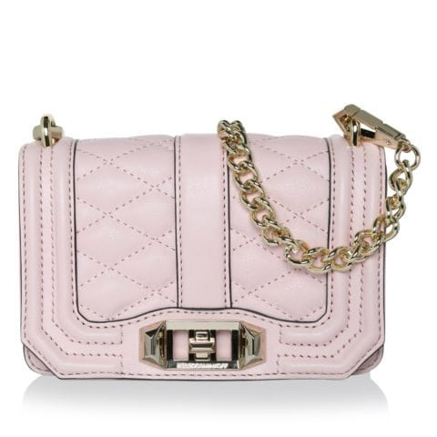 Rebecca Minkoff Mini Love Crossbody Light Gold Hardware Baby Pink