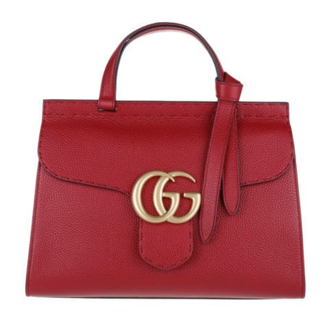 Gucci Marmont GG Leather Tophandle Red
