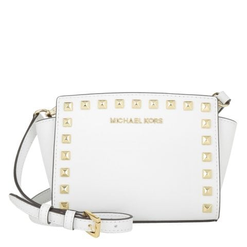 Michael Kors Selma Stud Mini Messenger Optic White