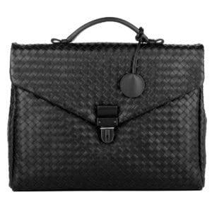 Bottega Veneta Men's Briefcase Cartell Intrecciato Black