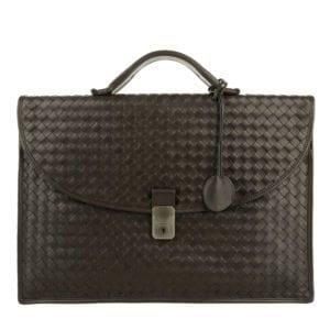 Bottega Veneta Men's Briefcase Leggero Intreccatio Espresso