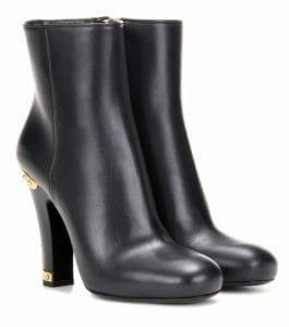 Prada Schuhe Ankleboots Leder mit Golddetails